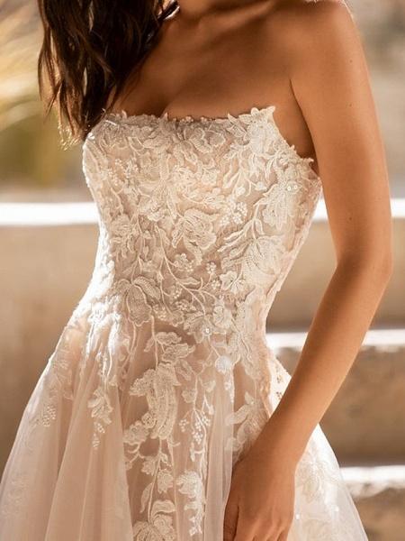 A-Line Wedding Dresses Sweetheart Neckline Sweep \ Brush Train Tulle Sleeveless Formal See-Through_3