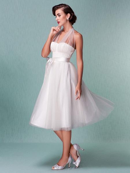 A-Line Wedding Dresses Halter Neck Knee Length Satin Tulle Regular Straps Casual Vintage Little White Dress Plus Size_5