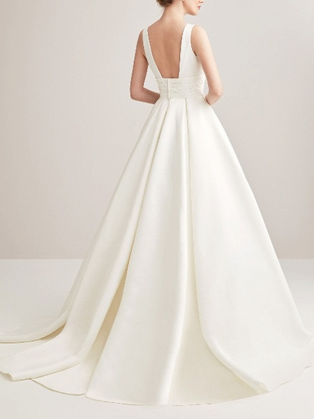 A-Line Wedding Dresses V Neck Court Train Satin Regular Straps_2