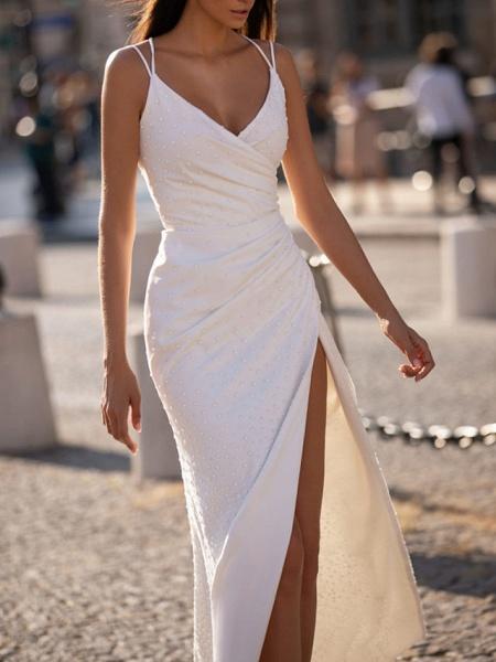 Sheath \ Column Wedding Dresses V Neck Floor Length Polyester Sleeveless Beach Plus Size_1