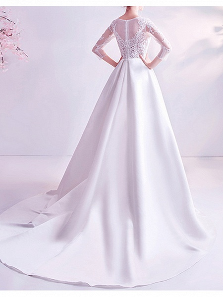 A-Line Wedding Dresses Jewel Neck Court Train Chiffon Tulle 3\4 Length Sleeve Formal Plus Size Illusion Sleeve_3