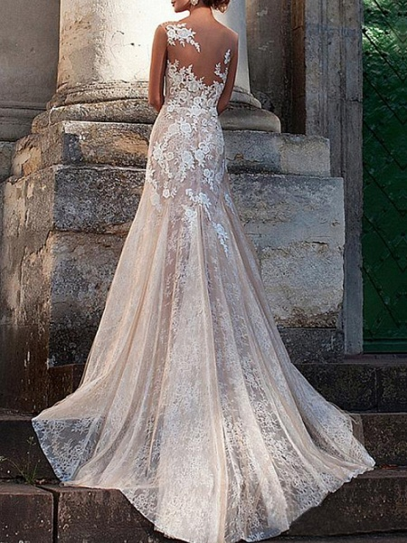 A-Line Jewel Neck Sweep \ Brush Train Lace Tulle Cap Sleeve Sexy See-Through Backless Wedding Dresses_2