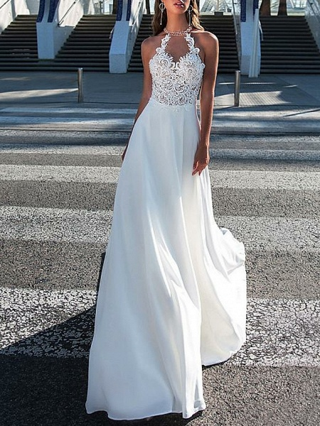 A-Line Wedding Dresses Halter Neck Sweep \ Brush Train Chiffon Strapless Romantic Boho Illusion Detail Backless_1