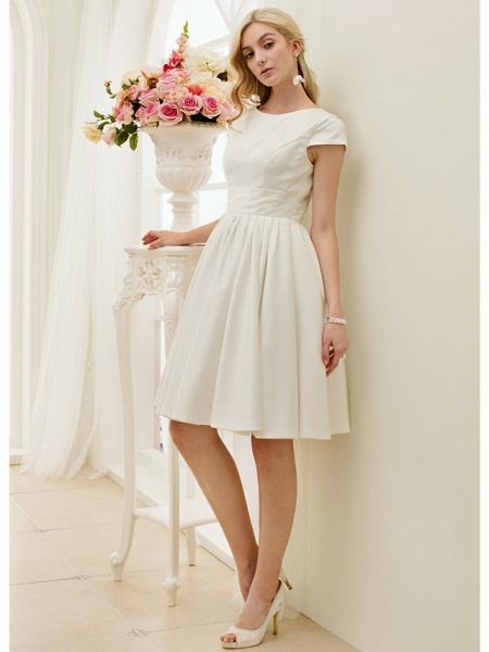 A-Line Wedding Dresses Jewel Neck Knee Length Satin Short Sleeve Formal Simple Casual Little White Dress_4