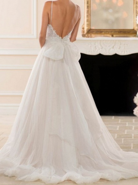 A-Line Wedding Dresses V Neck Sweep \ Brush Train Lace Tulle Spaghetti Strap Romantic Backless_4