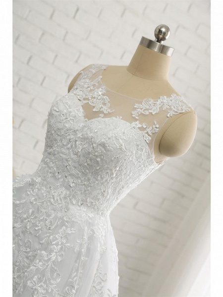 A-Line Wedding Dresses Scoop Neck Court Train Lace Tulle Lace Over Satin Regular Straps Romantic See-Through_7