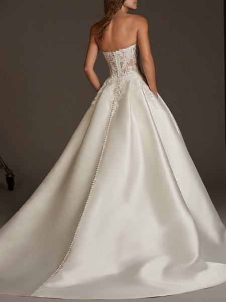 Ball Gown Wedding Dresses Sweetheart Neckline Sweep \ Brush Train Lace Satin 3\4 Length Sleeve Plus Size Illusion Sleeve_2