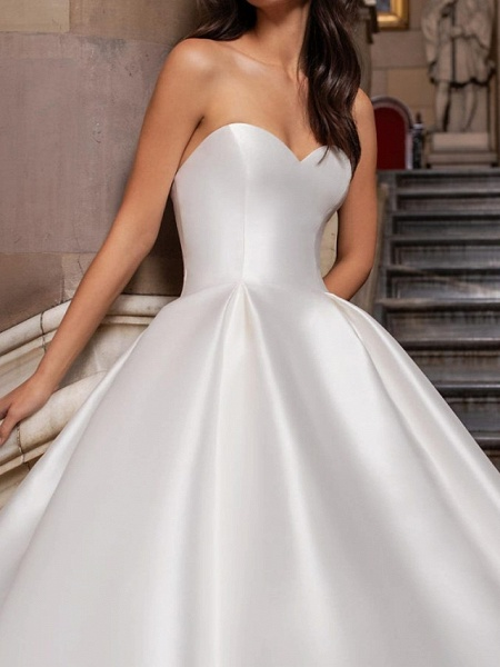 Ball Gown Sweetheart Neckline Sweep \ Brush Train Lace Satin Cap Sleeve Formal Wedding Dresses_2