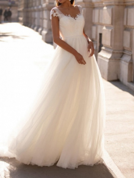 A-Line Wedding Dresses V Neck Floor Length Polyester Sleeveless Country Illusion Detail Plus Size_2