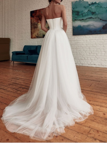 Jumpsuits Wedding Dresses Strapless Sweep \ Brush Train Detachable Tulle Stretch Satin Sleeveless Casual Modern_4