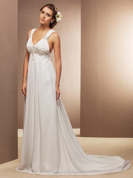 Sheath \ Column Wedding Dresses V Neck Court Train Chiffon Sleeveless See-Through_8