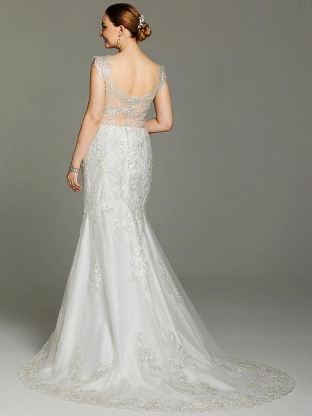Mermaid \ Trumpet Wedding Dresses V Neck Court Train Lace Sleeveless Open Back See-Through_2