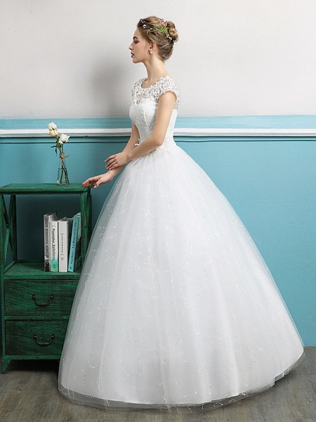Ball Gown Wedding Dresses Jewel Neck Floor Length Lace Tulle Polyester Short Sleeve Romantic_2