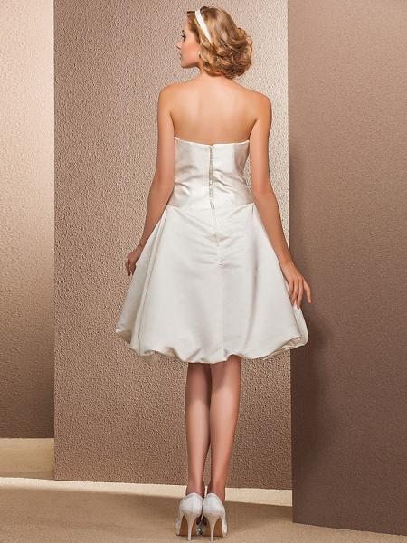 Ball Gown A-Line Wedding Dresses Strapless Knee Length Satin Sleeveless Little White Dress_4