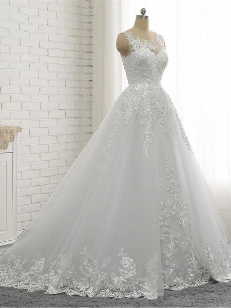 A-Line Wedding Dresses Scoop Neck Court Train Lace Tulle Lace Over Satin Regular Straps Romantic See-Through_3