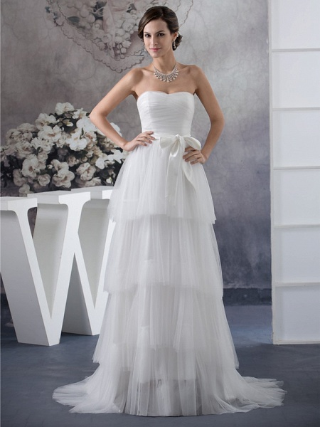 A-Line Wedding Dresses Strapless Sweep \ Brush Train Satin Tulle Strapless_1