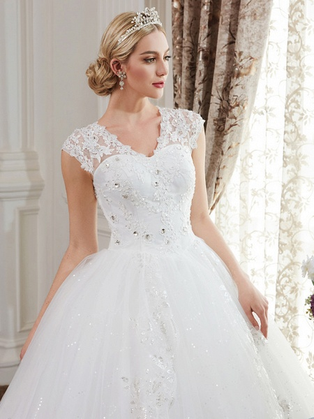 Ball Gown Wedding Dresses V Neck Floor Length Satin Lace Over Tulle Cap Sleeve Romantic Illusion Detail_7