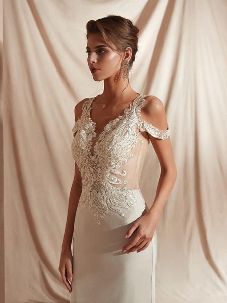 Mermaid \ Trumpet Wedding Dresses V Neck Asymmetrical Matte Satin Short Sleeve Casual Sexy Illusion Detail Modern_5