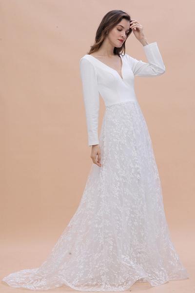 Long Sleeve V-neck Boho Bridal Gowns Satin Backless Lace Wedding Dress_7