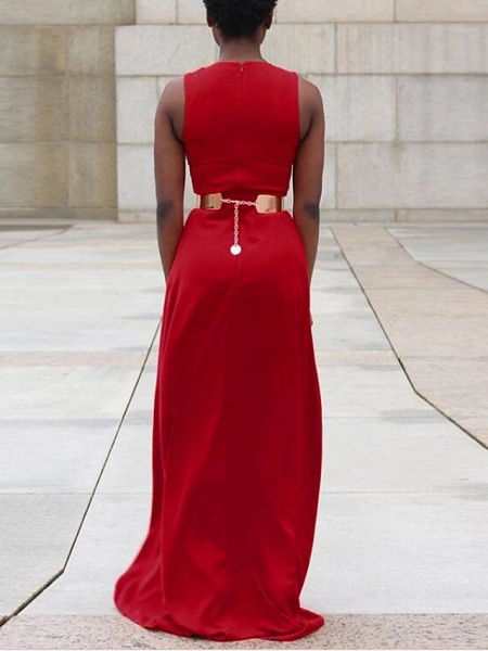 Women's Wide Leg Daily Red Jumpsuit_3