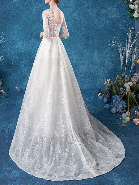 A-Line Jewel Neck Court Train Chiffon Tulle 3\4 Length Sleeve Formal Plus Size Illusion Sleeve Wedding Dresses_3