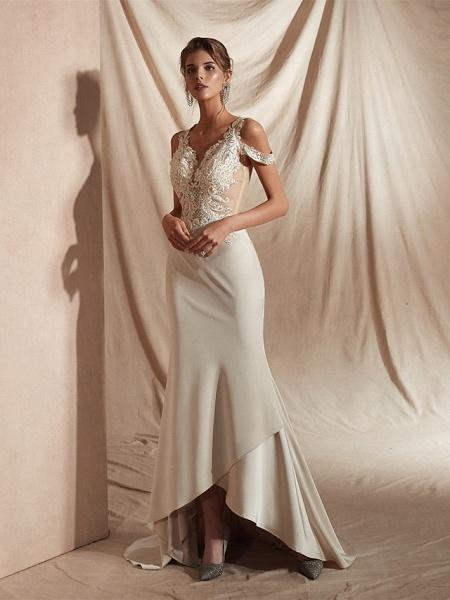 Mermaid \ Trumpet Wedding Dresses V Neck Asymmetrical Matte Satin Short Sleeve Casual Sexy Illusion Detail Modern_3