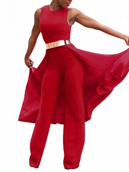 Women's Wide Leg Daily Red Jumpsuit_2