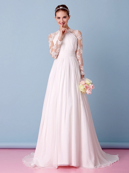 A-Line Jewel Neck Sweep \ Brush Train Chiffon Sheer Lace Long Sleeve Simple Boho Little White Dress See-Through Illusion Sleeve Wedding Dresses_5