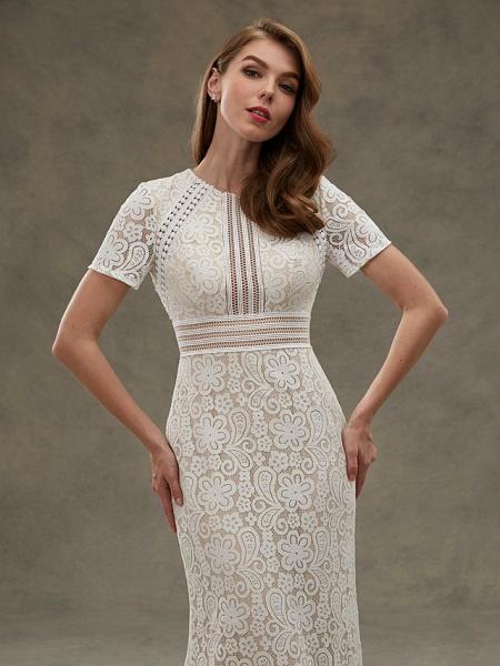 Sheath \ Column Wedding Dresses Jewel Neck Floor Length Sheer Lace Short Sleeve Open Back See-Through_8