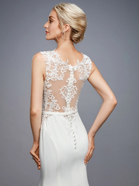 Mermaid \ Trumpet Wedding Dresses Bateau Neck Court Train Chiffon Lace Regular Straps Sexy Illusion Detail Backless_8