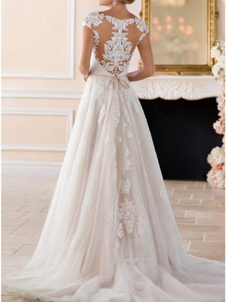 A-Line Wedding Dresses V Neck Sweep \ Brush Train Lace Tulle Regular Straps Formal Mordern Illusion Detail_4