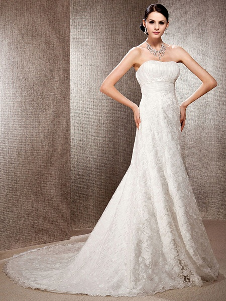 Princess A-Line Wedding Dresses Sweetheart Neckline Court Train Lace Sleeveless Floral Lace_4