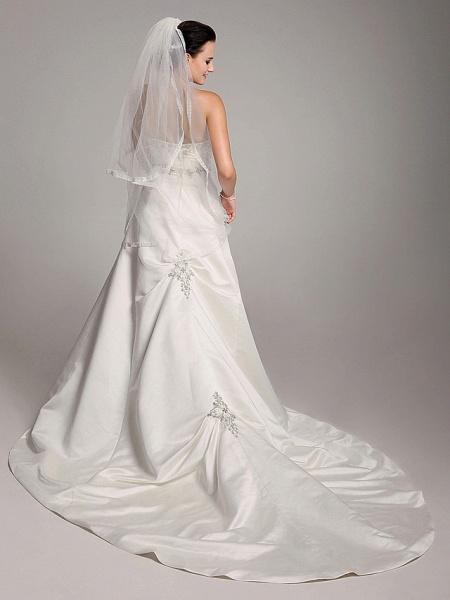 Princess A-Line Wedding Dresses Strapless Sweetheart Neckline Court Train Satin Sleeveless_7