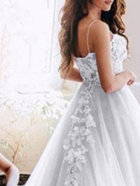 A-Line Wedding Dresses Spaghetti Strap Sweep \ Brush Train Lace Tulle Sleeveless Country Sexy See-Through_2