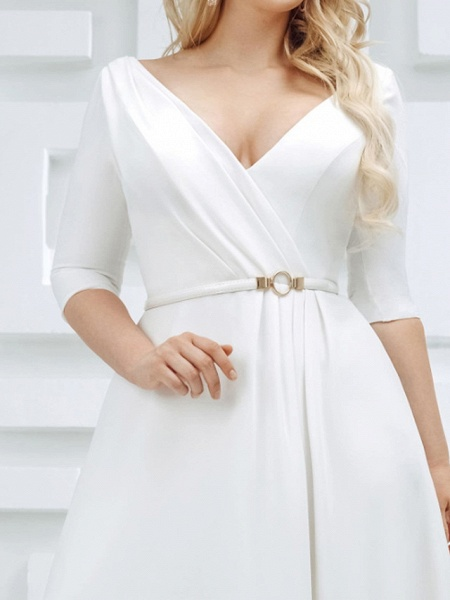 A-Line Wedding Dresses V Neck Sweep \ Brush Train Stretch Satin Half Sleeve Country Plus Size_3