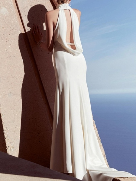 Sheath \ Column Wedding Dresses High Neck Floor Length Satin Sleeveless Beach Plus Size_2