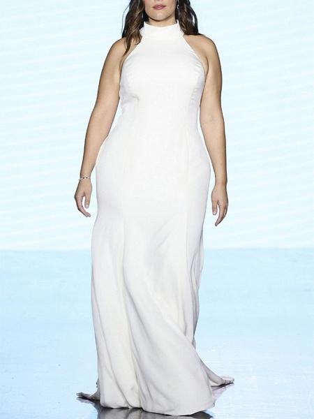 Sheath \ Column Wedding Dresses High Neck Sweep \ Brush Train Satin Regular Straps Plus Size_3