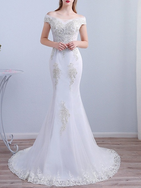 Mermaid \ Trumpet Wedding Dresses Off Shoulder Sweep \ Brush Train Tulle Short Sleeve Beach_2