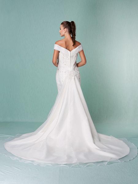 Mermaid \ Trumpet Wedding Dresses Off Shoulder Chapel Train Organza Short Sleeve_7