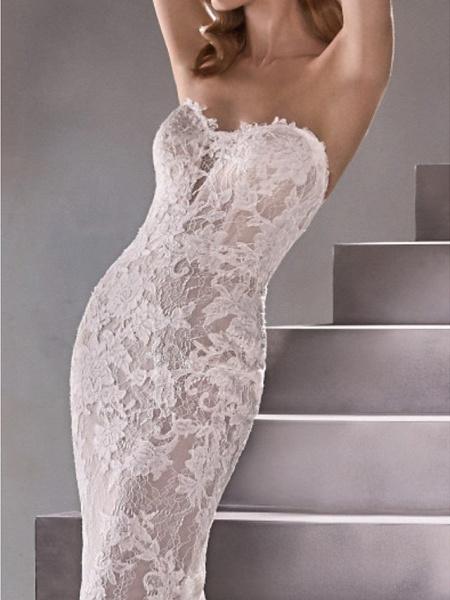 Mermaid \ Trumpet Wedding Dresses Sweetheart Neckline Sweep \ Brush Train Lace Sleeveless Sexy Plus Size_6