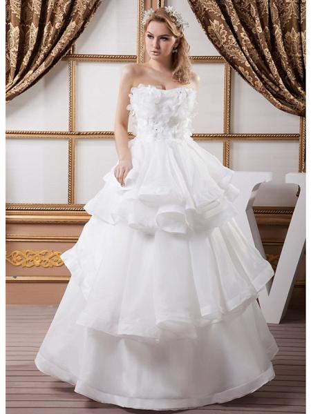 Ball Gown Strapless Floor Length Organza Satin Strapless Plus Size Wedding Dresses_1