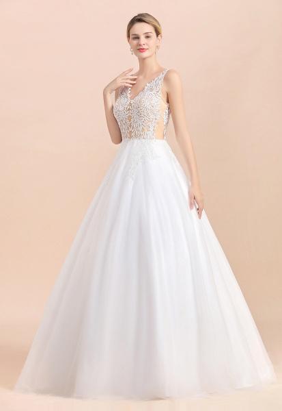 Elegant Sleeveless A-line Floral Appliques Wedding Dress_4