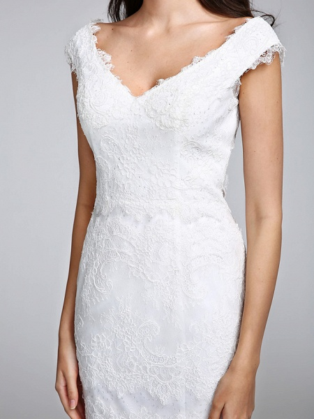 Mermaid \ Trumpet Wedding Dresses V Neck Floor Length All Over Lace Cap Sleeve Romantic Sexy Illusion Detail Backless_9