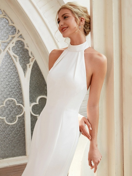 Sheath \ Column Wedding Dresses Halter Neck Court Train Chiffon Satin Regular Straps Simple Backless Elegant_6