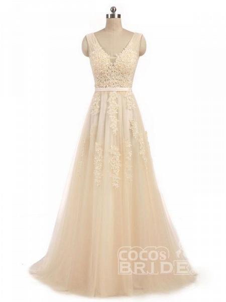 Elegant Champagne Appliques A-line Lace Wedding Dress_7