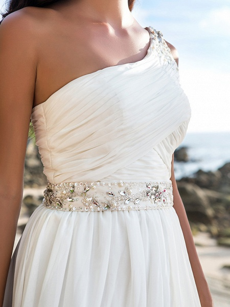 A-Line Wedding Dresses One Shoulder Court Train Chiffon Regular Straps Beach Sparkle & Shine_5