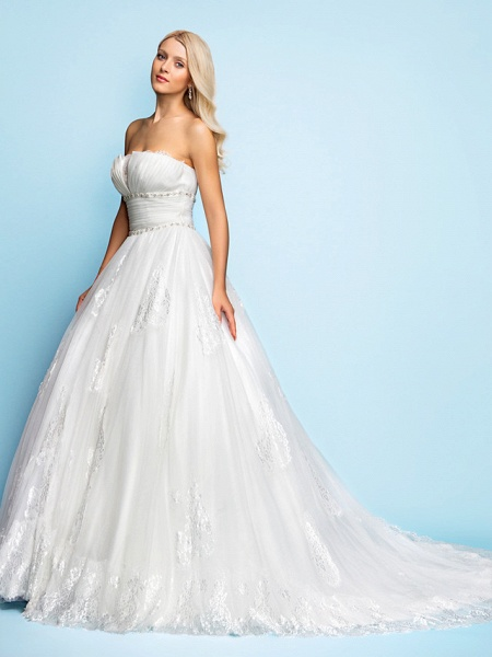 Ball Gown Wedding Dresses Strapless Court Train Organza Tulle Sleeveless_3