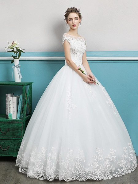Ball Gown Wedding Dresses Bateau Neck Floor Length Lace Tulle Polyester Short Sleeve Romantic_2