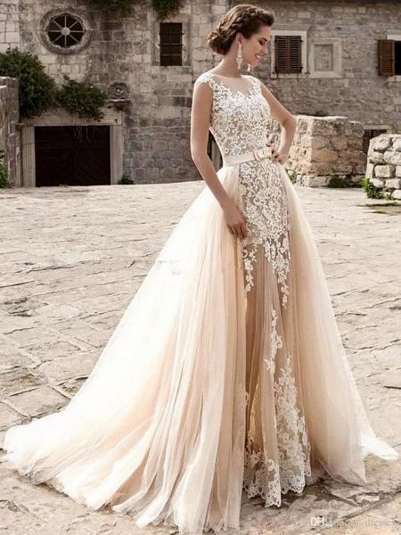 Mermaid \ Trumpet Jewel Neck Court Train Lace Tulle Cap Sleeve Modern Detachable Wedding Dresses_1