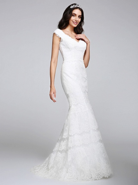 Mermaid \ Trumpet Wedding Dresses V Neck Floor Length All Over Lace Cap Sleeve Romantic Sexy Illusion Detail Backless_5